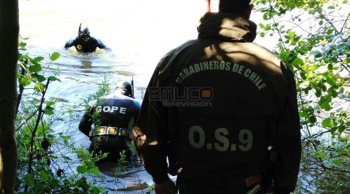 Equipo del Gope y OS9 realizan búsqueda en río Cautín de hombre de 47 años extraviado