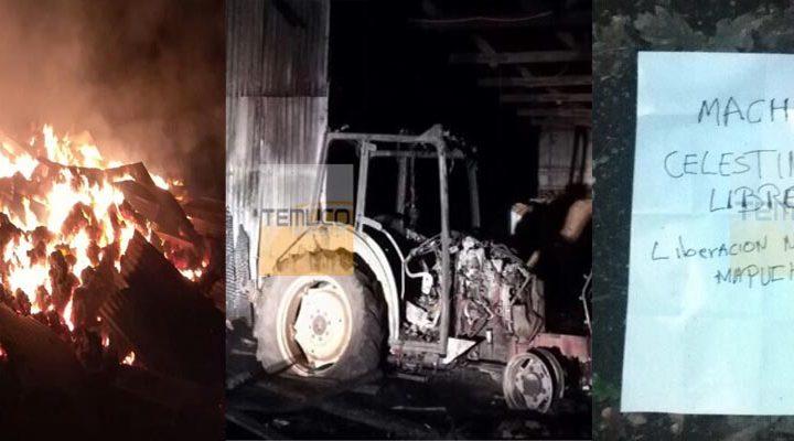 [Fotos] Incendian galpón, un tractor y una camioneta en un fundo en Lautaro