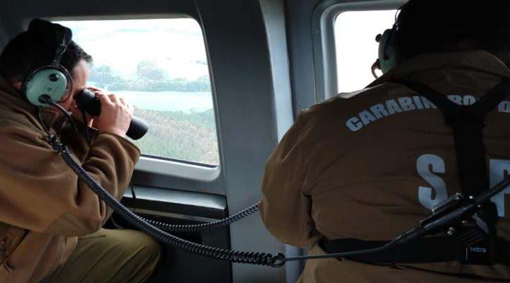Carabineros con rastreo aéreo se sumó a la búsqueda de Paola Alvarado en Curacautín