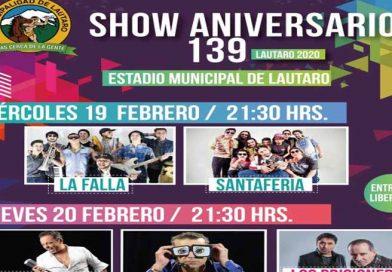Santa Feria, Marcos Llunas y Jorge Alís son parte de las dos noches del Show Aniversario N° 139 de Lautaro