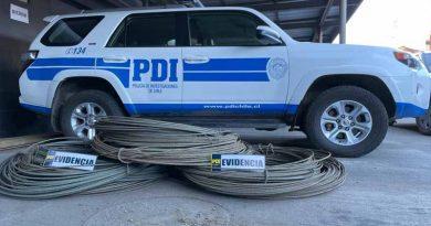 PDI Angol recupera más de dos kilómetros de cables de cobre sustraídos a empresa de electricidad